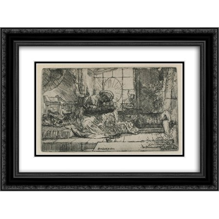 Rembrandt Cat Charm - Rembrandt 2x Matted 24x20 Black Ornate Framed Art Print 'The Holy Family with a cat'