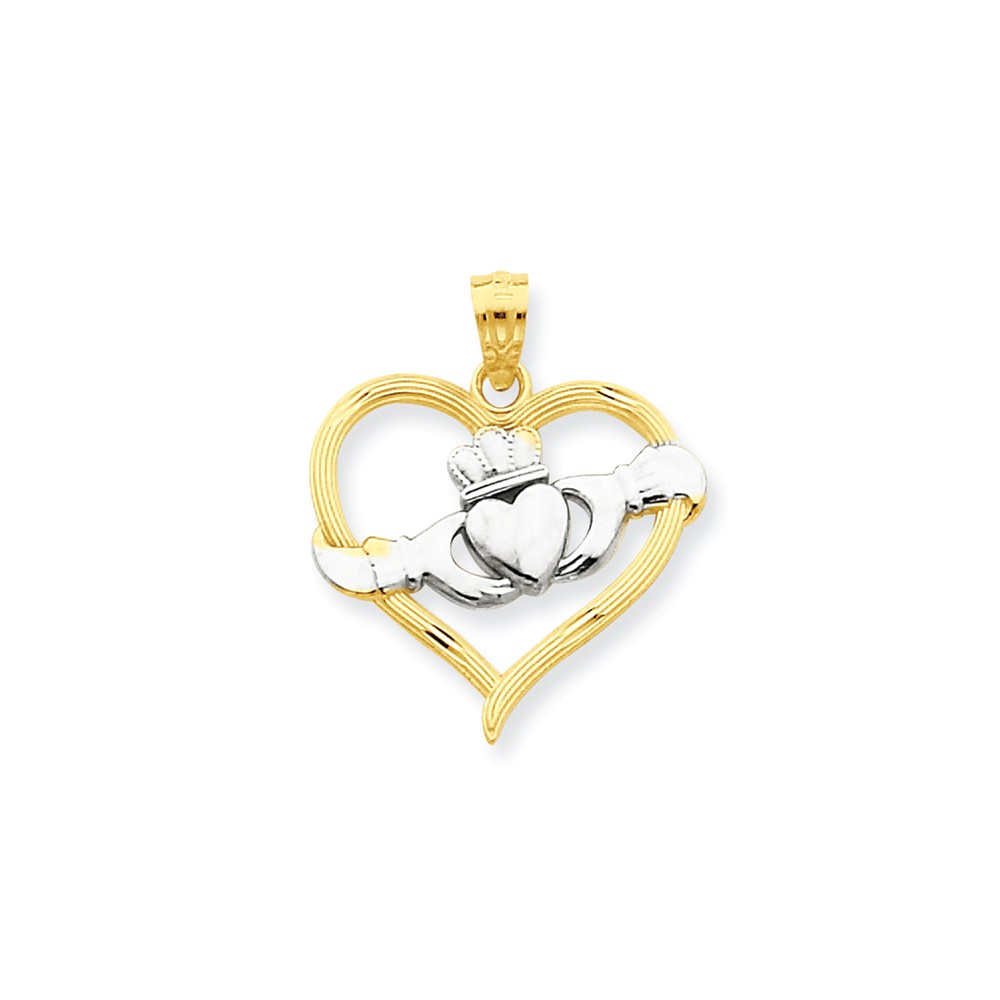 14K Yellow Gold and Rhodium Claddagh Heart Pendant