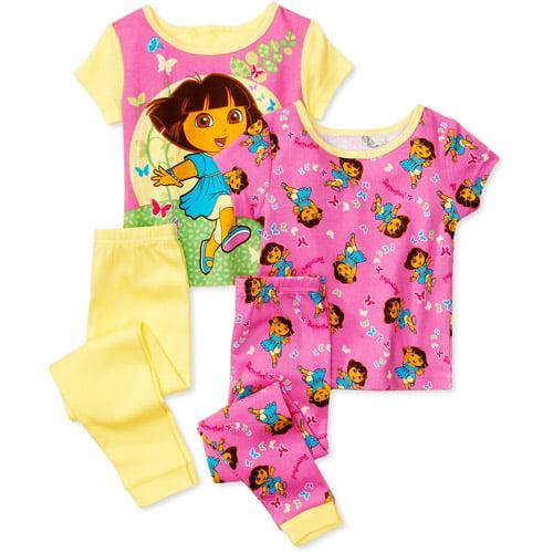 Nickelodeon - Baby Girls' 4-Piece Dora the Explorer Pajamas Set