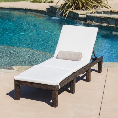 aspen outdoor wicker adjustable chaise lounge chair with cushion multibrown. Black Bedroom Furniture Sets. Home Design Ideas