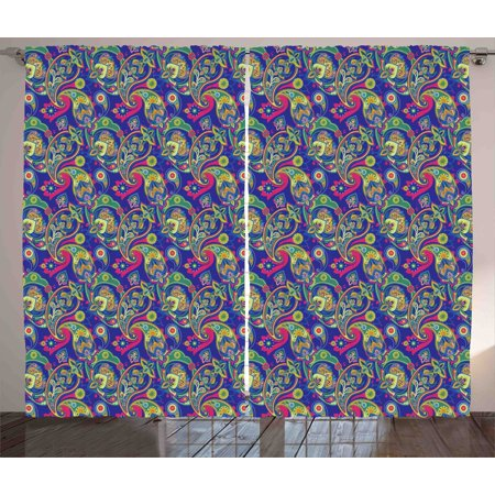 Paisley Pears (Paisley Curtains 2 Panels Set, Classic Persian Jacquard Boteh Ikat Motifs Old Welsh Pears Artwork, Window Drapes for Living Room Bedroom, 108W X 90L Inches, Indigo and Olive Green, by Ambesonne )