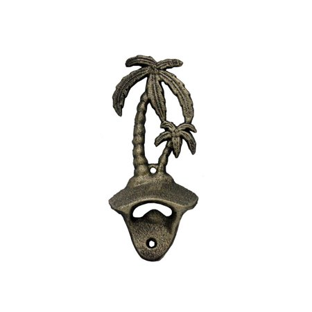 "Rustic Gold Cast Iron Wall Mounted Palm Tree Bottle Opener 6"" - Vintage Cast Iron Decor - Coastal Decor"