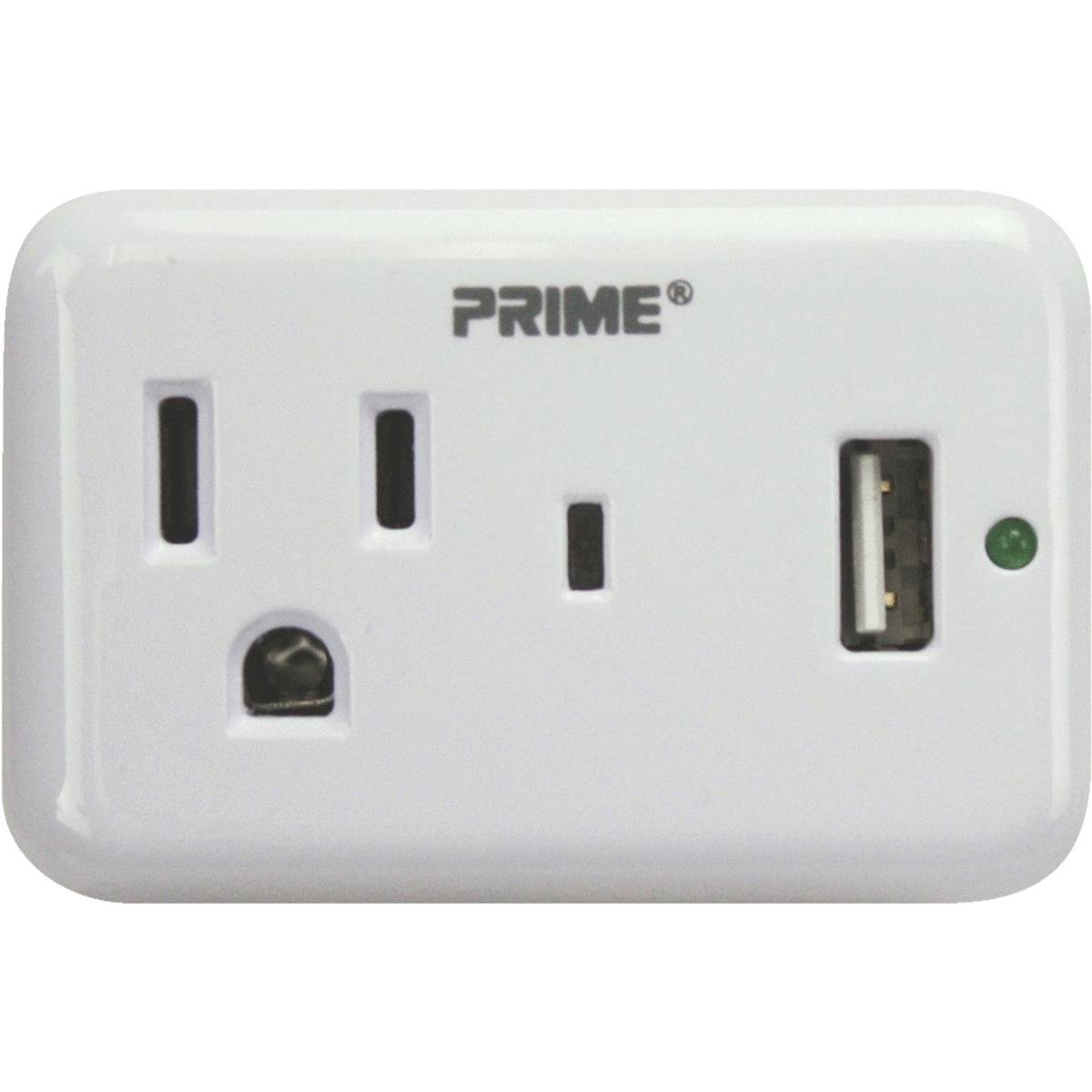 Prime Wire & Cable PBUSB241S-1-Outlet, 150 Joules Surge Tap with 1 ...