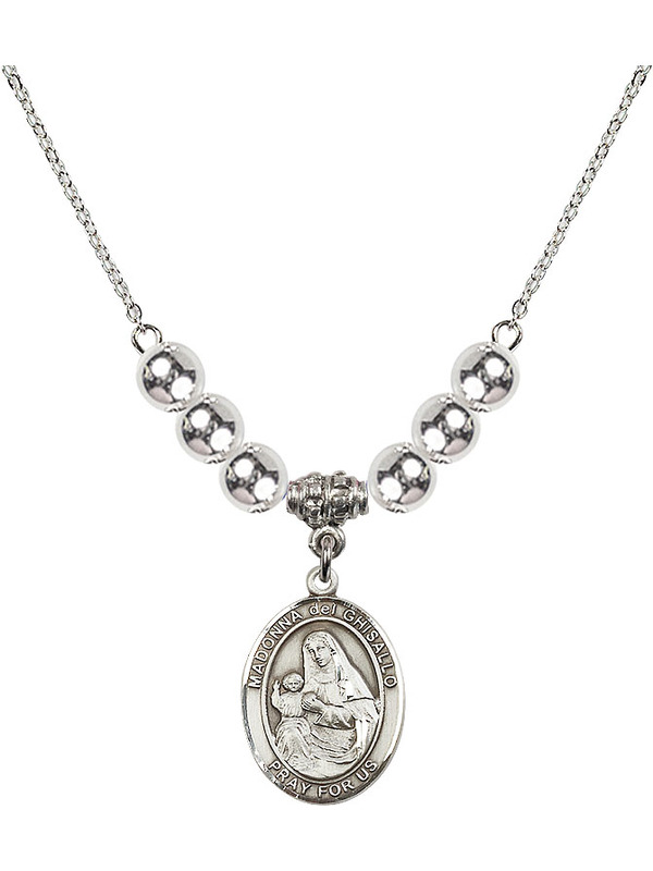 Bonyak Jewelry 18 Inch Rhodium Plated Necklace w// 6mm Sterling Silver Beads and Madonna del Ghisallo Charm