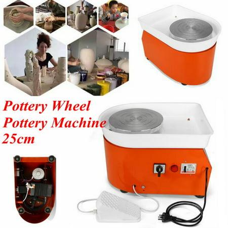 Grtxinshu 250W 0-300r/Min Inorganic Speed Electric Pottery Wheel Machine With Mobile Foot Pedal Ceramic DIY Tool Art Craft For Beginner Children Kids Toddlers Birthday Gifts (Children's Pottery Wheel)