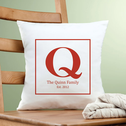 Personalized Family Initial Pillow, Red