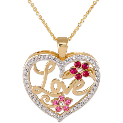 "Gold-Tone ""Love"" Clear Crystal Heart Pendant"
