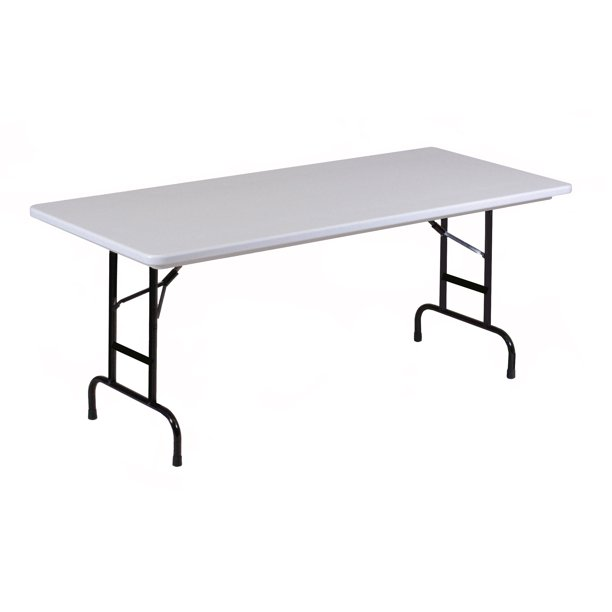 "Correll Gray Granite Commercial Duty, Adjustable Height Plastic Top Folding Table. Height Adjusts from 22"" to 32"" for Kindergarten to Adult use."