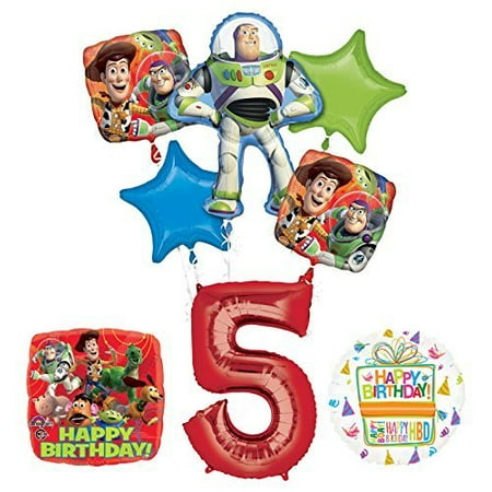 Toy Story 5th Birthday Party Supplies and Balloon Bouquet Decorations
