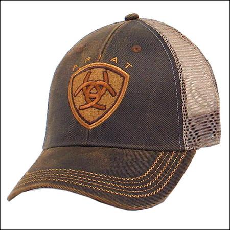e4f442c5 ARIAT WESTERN MENS COWBOY MESH BASEBALL CAP W/ ZIG ZAG LOGO BROWN