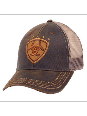 Product Image ARIAT WESTERN MENS COWBOY MESH BASEBALL CAP W  ZIG ZAG LOGO  BROWN 81ac10f8915