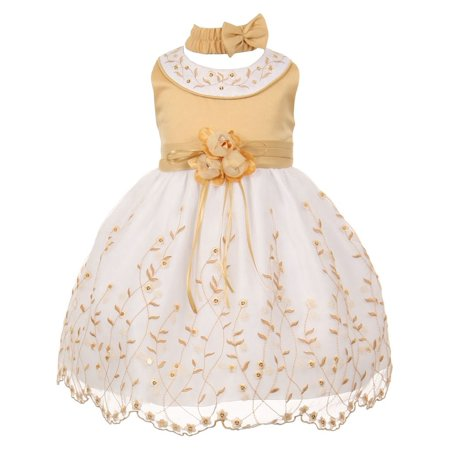 Multi Color Jeweled Flower - Little Girls Gold White Floral Jeweled Flower Girl Bubble Dress 2T