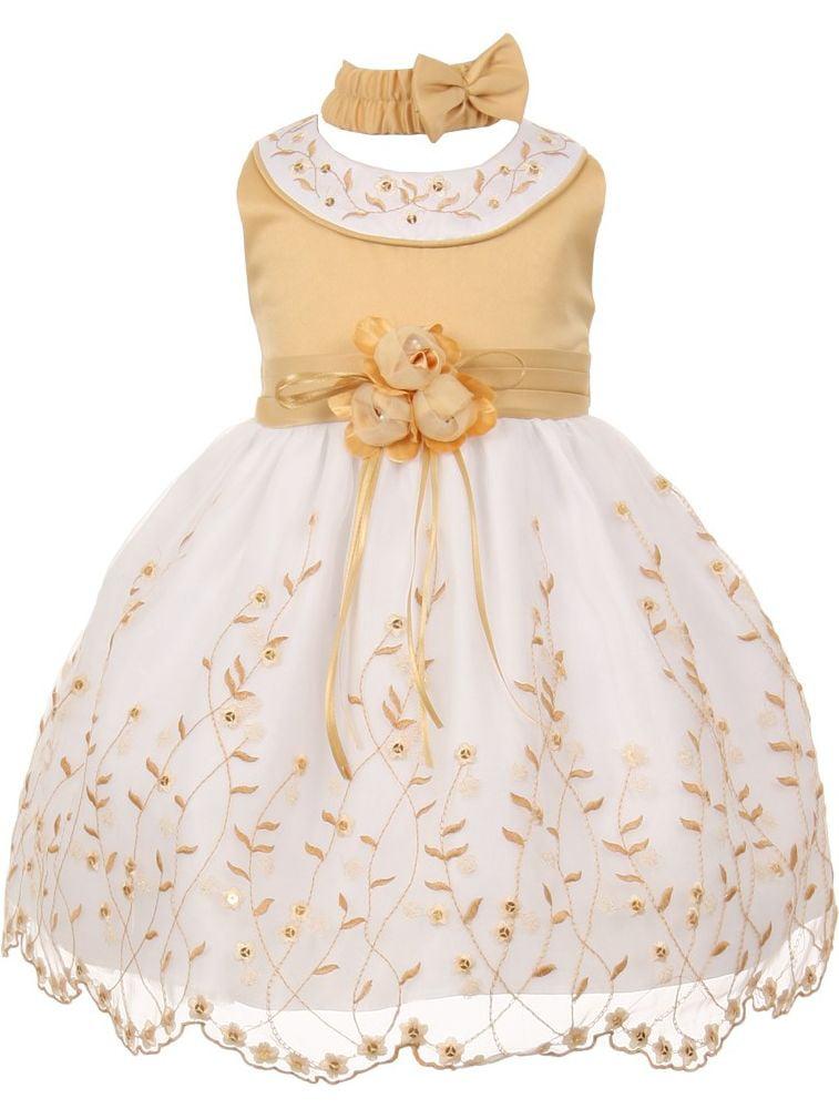 Little Girls Gold White Floral Jeweled Flower Girl Bubble Dress 2T
