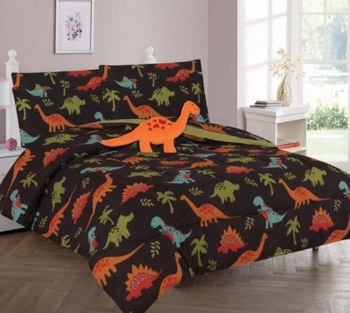 8-PC FULL DINOSAUR BROWN Complete Bed In A Bag Comforter Bedding Set With Furry Friend and Matching Sheet Set for Kids (Brown Bed Comforter Set)