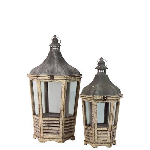 Urban Trends Wood Lantern with Cast Iron Top, Metal Handle, Glass and Sides Set of Two Distressed  Wood Finish