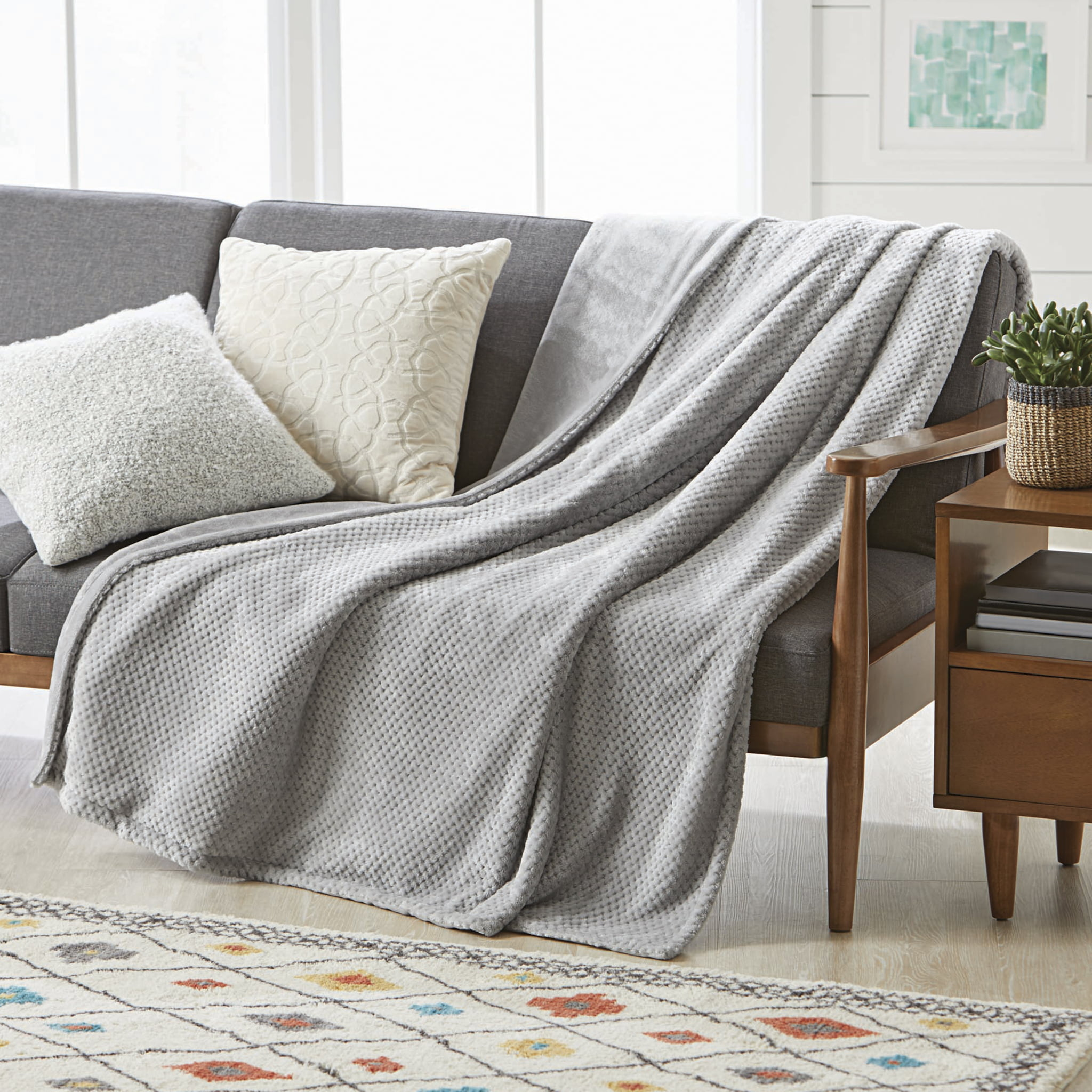 Better Homes Gardens Velvet Plush 50 X 70 Oversized Reversible Light Grey Throw Blanket 1 Each