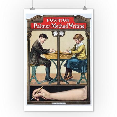 - Palmer Method Writing Vintage Poster USA (9x12 Art Print, Wall Decor Travel Poster)