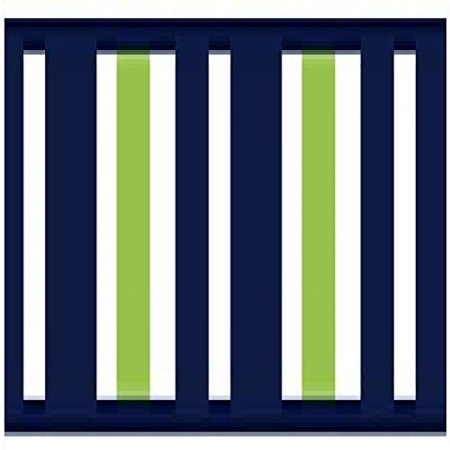 Childrens and Teens Navy Blue, Lime Green and White Wall Paper Border for  Stripes Bedding Collection