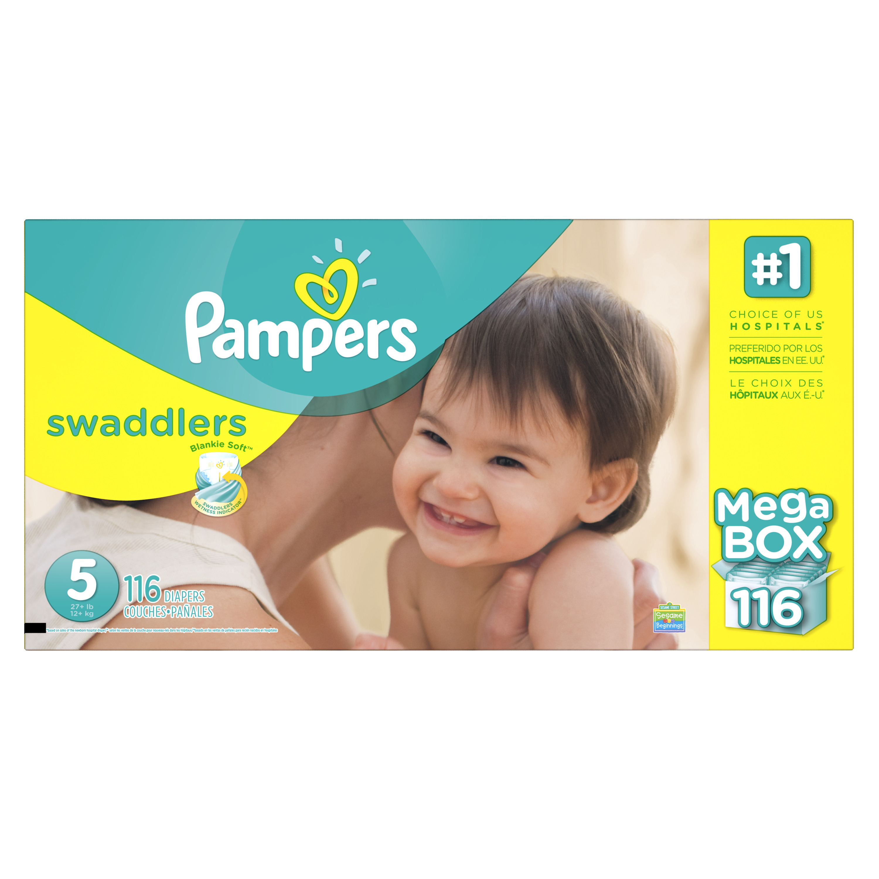 Product of 'Pampers' Swaddlers Size 5 Diapers; 116 ct. Bulk Qty, Free Shipping Comfortable, Soft, No Leaking &... by Branded Diapers
