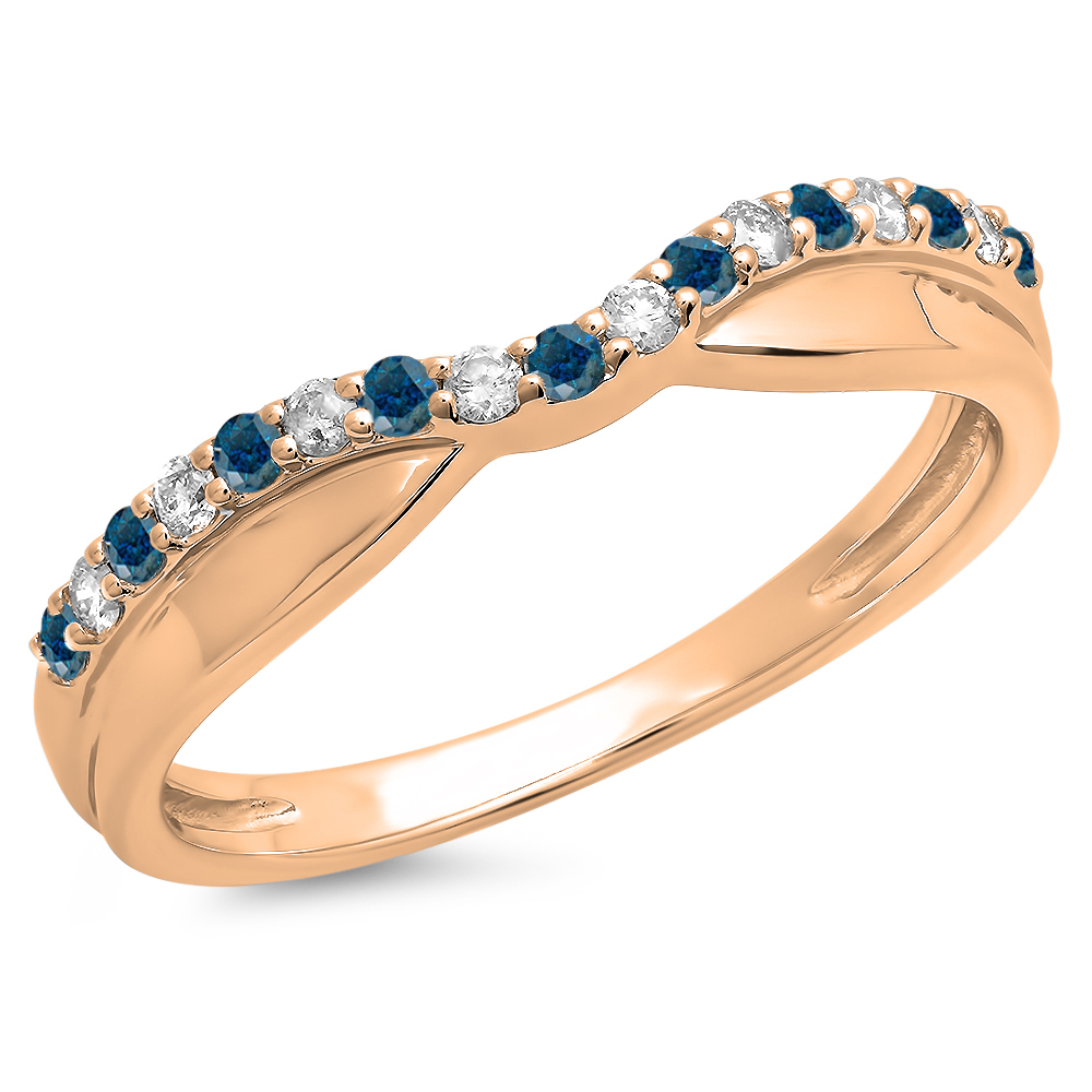 0.25 Carat (ctw) 14K Rose Gold Round Cut Blue & White Diamond Ladies Anniversary Wedding Stackable Contour Guard Band 1/