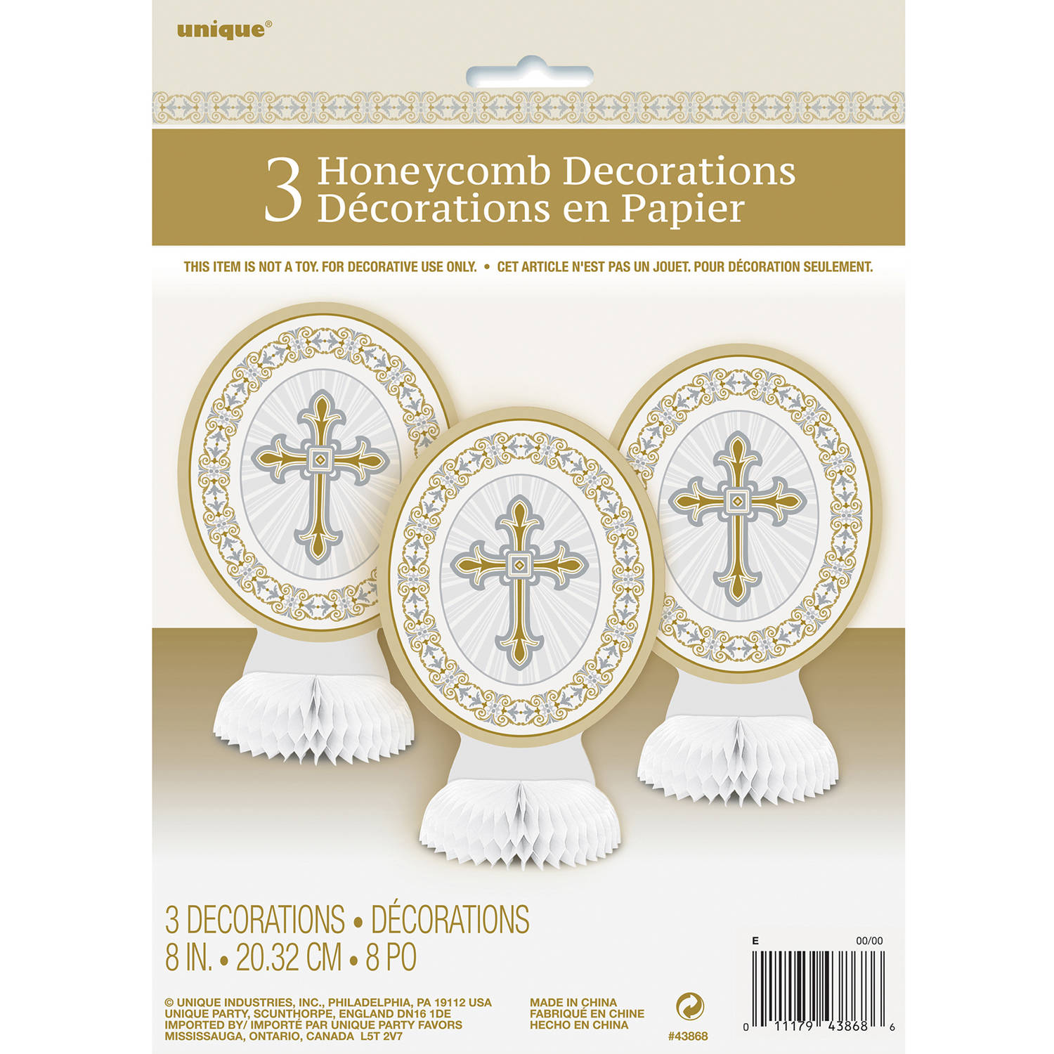 "8"" Mini Gold and Silver Radiant Cross Religious Centerpiece Decorations, 3ct"
