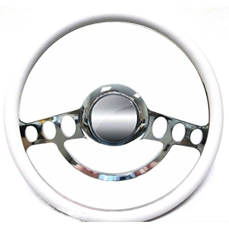 Hot Rod Street Rod Rat Rod Chrome & White Steering Wheel 4 Flaming River Column