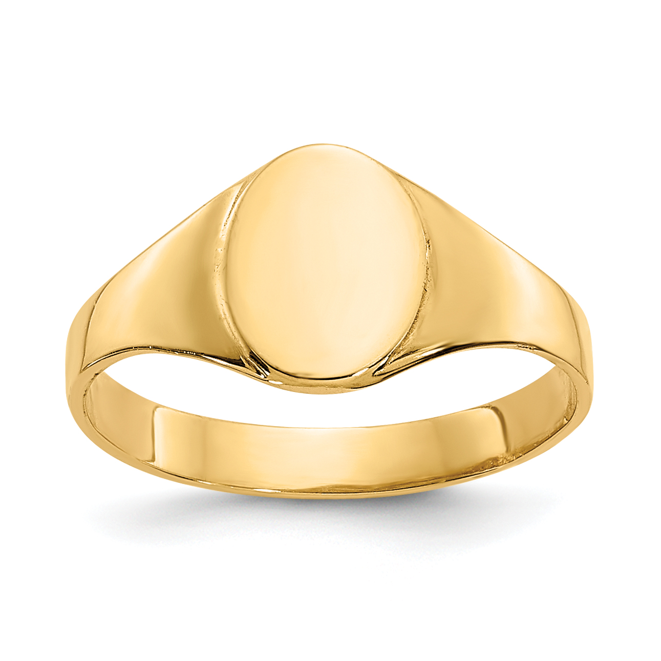 14k High Polished Oval Baby Signet Ring K3851