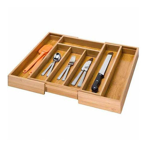 Culinary Edge Expandable Bamboo Utensil Drawer Organizer