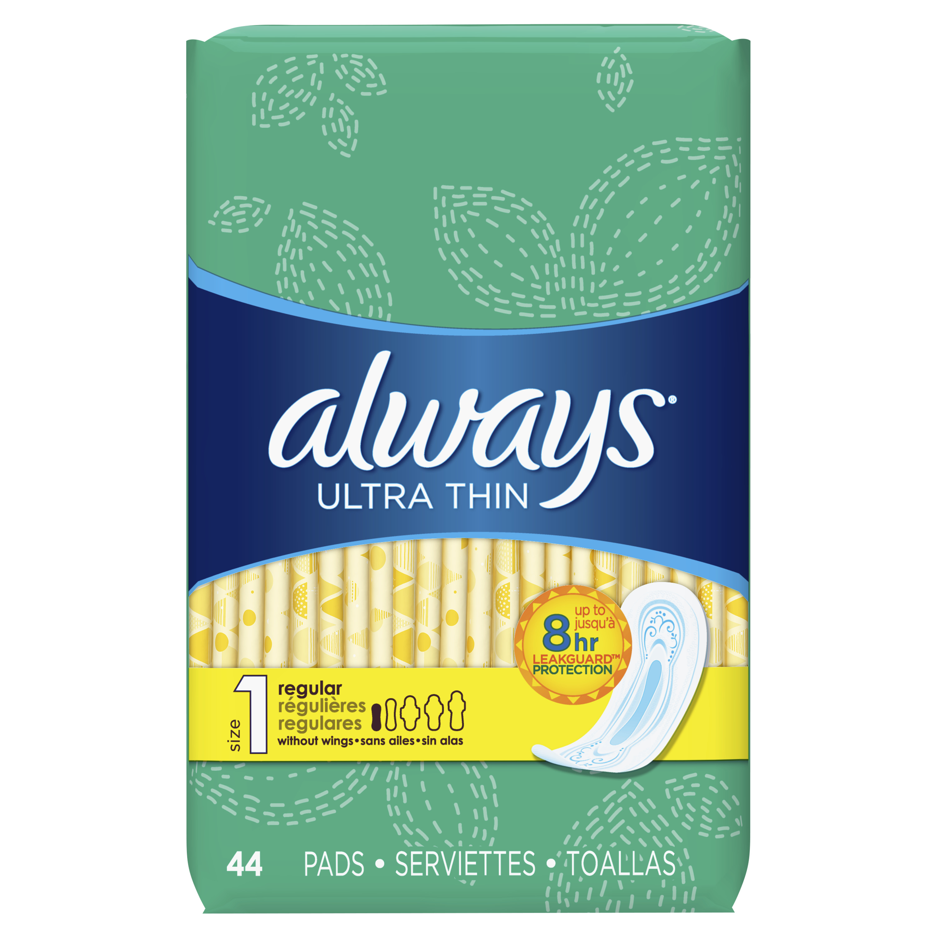 Always Ultra Thin, Size 1, Regular Pads, Unscented 44 Count
