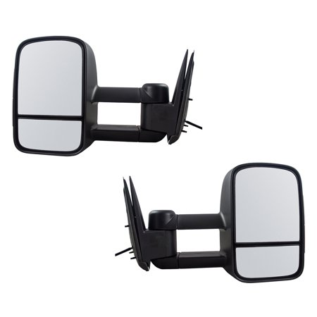 Pair of Manual Tow Telescopic Mirrors with External Signal Replacement for Chevrolet GMC Cadillac SUV Pickup Truck