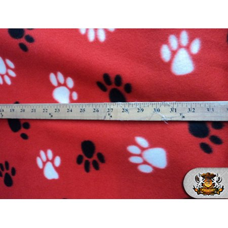 Fleece Printed Fabric PAWPRINT RED - BLACK WHITE / 58