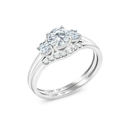 10K White Gold Lab Grown Diamond Ring Round 0.50ct DEW Created Moissanite and Created Sapphire