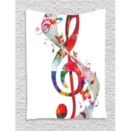 Halloween Theme Song Music (Music Tapestry, Artwork with Musical Notes Rhythm Song Ornamental in Vibrant Colors Fantasy Theme, Wall Hanging for Bedroom Living Room Dorm Decor, Multicolor, by)