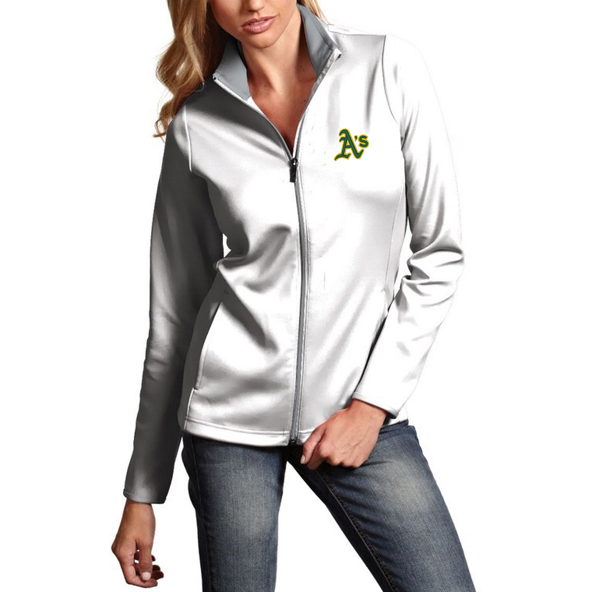 Oakland Athletics Antigua Women's Leader Full-Zip Jacket - White