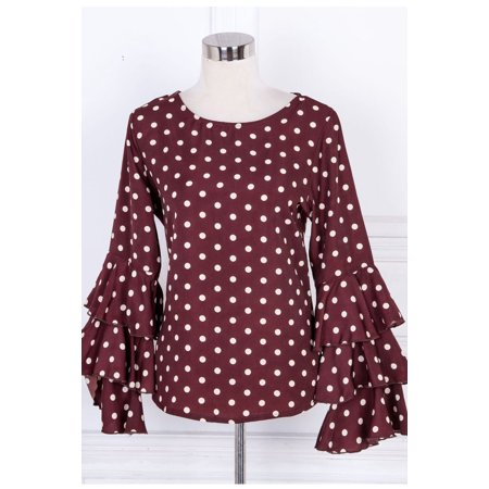 Polka Dot Ruffle Legging - Women Ruffled Sleeve Polka Dot Casual Top