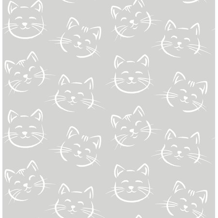 Brewster Purr Grey Cat Wallpaper