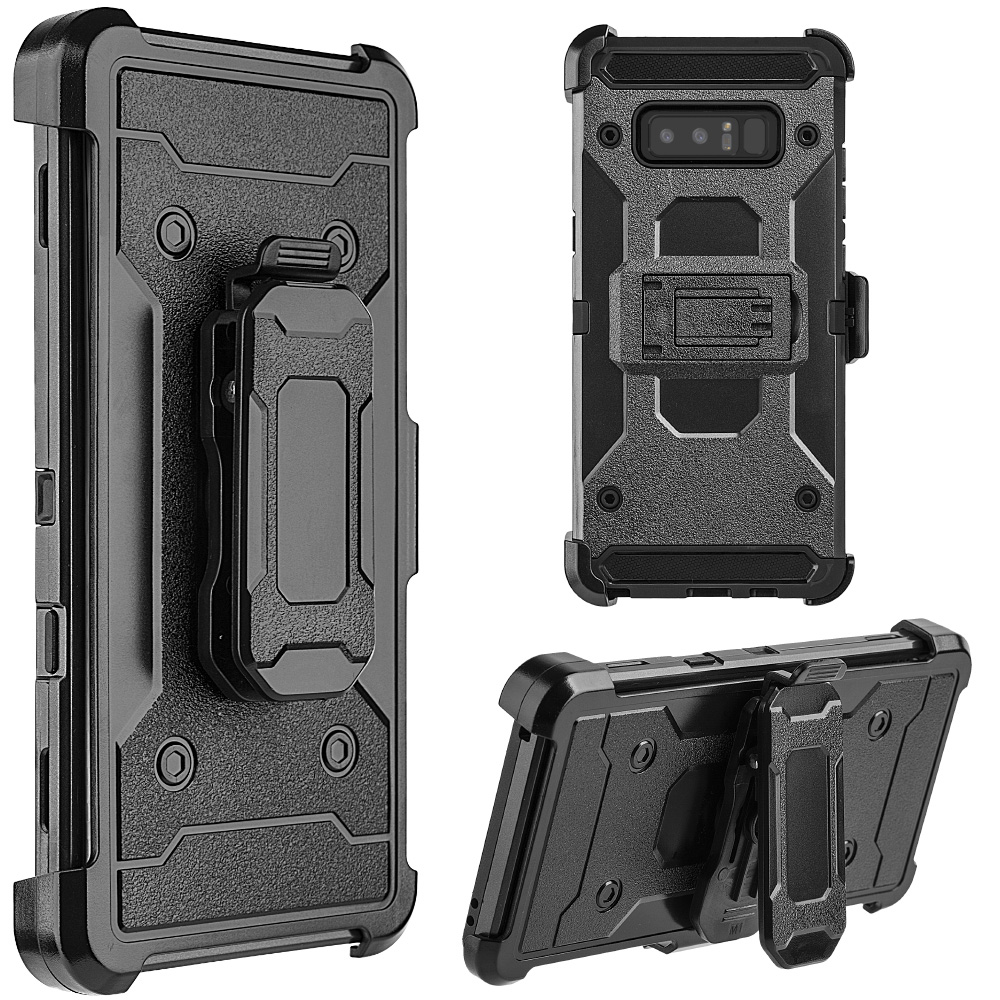 Samsung Galaxy Case,Rugged TUFF Hybrid Dual Layer Cover with Rotating Belt Clip Holster Back Case (Shockproof, Kickstand, Raised Bezel, PC Coating) for Samsung Galaxy Note 8 SM -N950U - Black