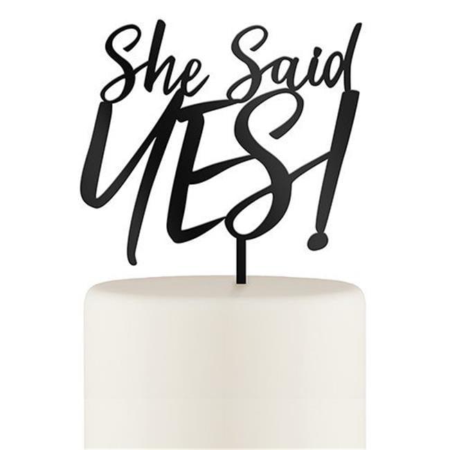 Weddingstar 4580-10 She Said Yes Acrylic Cake Topper, Black