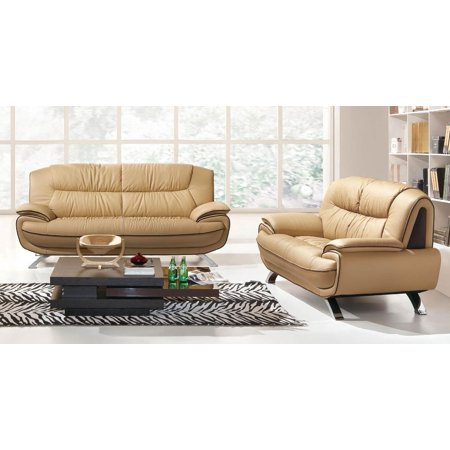 Esf 405 Brown Chic Italian Leather Sofa Loveseat Living Room Set