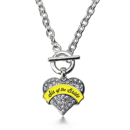 Yellow Sis Of The Bride Pave Heart Toggle Necklace