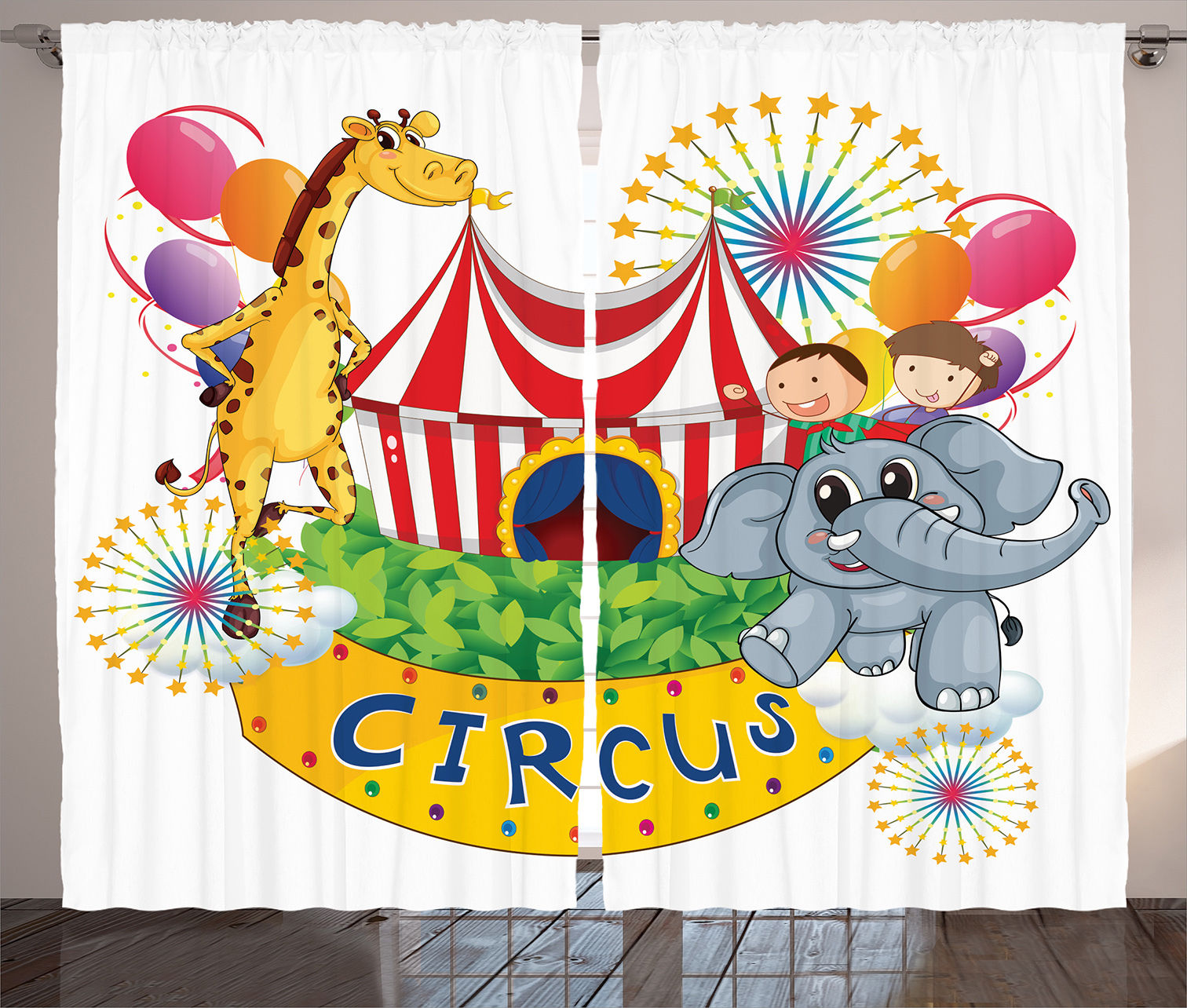 Circus Decor Curtains 2 Panels Set, Circus Show With Kids And Animals Smiling Magician Children Happiness, Living Room... by Kozmos
