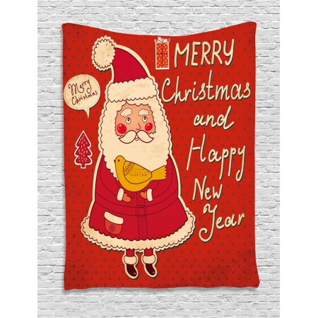 Christmas Tapestry, Happy New Year Retro Illustration with Cute Santa Claus Holding Yellow Bird, Wall Hanging for Bedroom Living Room Dorm Decor, Ivory Orange, by