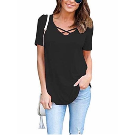 - 3/4 Sleeve Women Solid Color Skinny Cross T-shirts