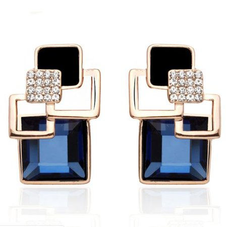 AkoaDa Classic Geometric Square Crystal Jewelry SetsFor Women Vintage Party Stud Earrings For Gifts Square Vintage Earrings
