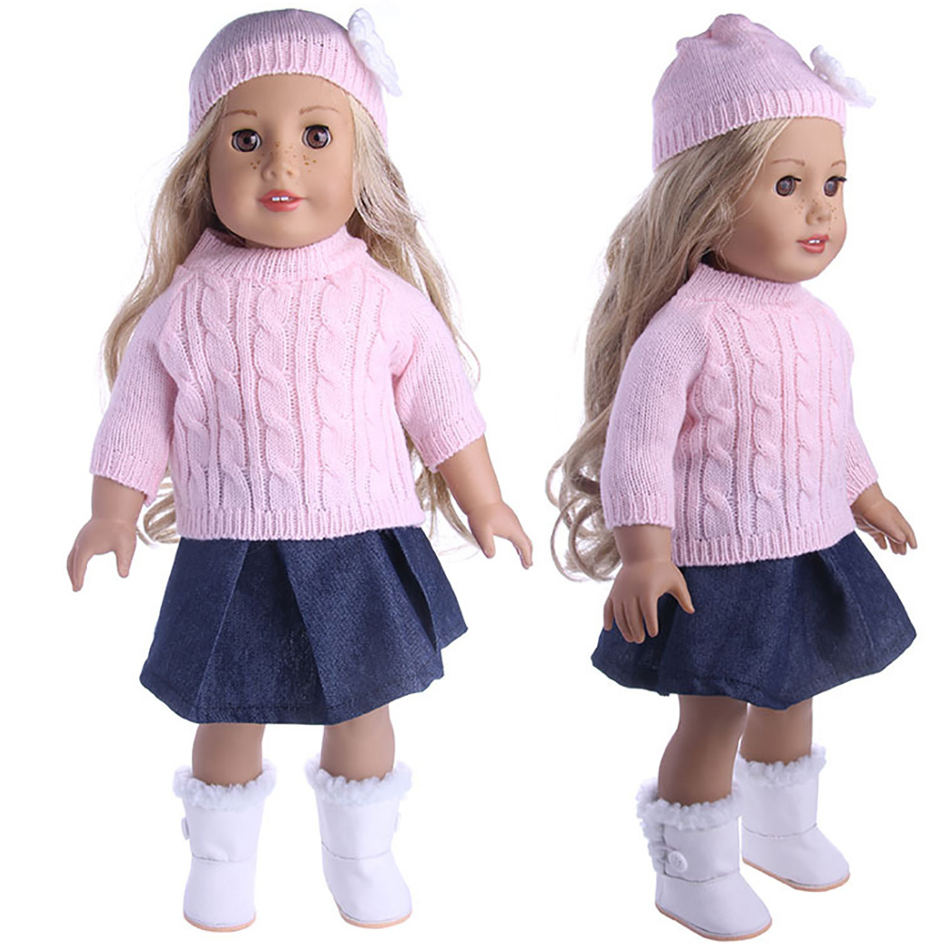 """18/"""" QUALITY Doll Clothes American Girl ~ Pleated WOOL SKIRT /& HAND-KNIT SWEATER"""