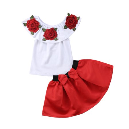 2PCS Toddler Baby Girls 3D Rose Floral Blouse Top Princess Party Dress Skirt Outfit Set 2-3 Years](Outfit For Party)