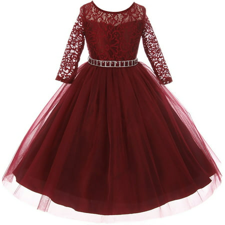 Little Girl Stunning Lace Tulle Rhinestones Holiday Party Flower Girl Dress Burgundy 2 MBK 372 BNY Corner - Girls Party Dresses