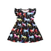 Wayren USA Toddler Baby Girl Love Heart Dinosaur Print Dress Princess Long Sleeve Ruffles Valentines Day Clothes
