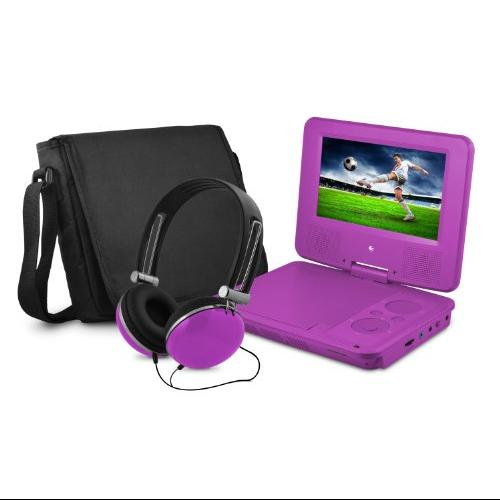 "Ematic Epd707 Portable Dvd Player - 7"" Display - 480 X 234 - Purple - Dvd-r, Cd-r - Jpeg - Dvd Video, Video Cd, Mpeg-4 - Cd-da, Mp3 - 1 X Headphone Port[s] - Lithium Polymer - 2 Hour (epd707pr)"
