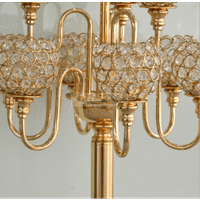 Crystal Gold 7 Arms Candelabra/ Floral Riser/Wedding Centerpieces/Flower Ball Stand 33 inches High